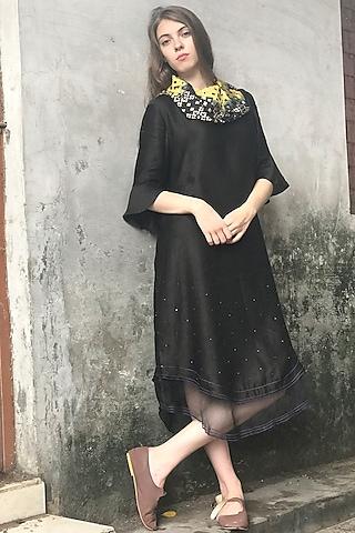 Black Printed & Embroidered Kurta Dress by I AM DESIGN