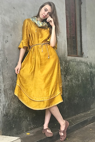 Mustard Printed & Embroidered Cowl Kurta Dress by I AM DESIGN