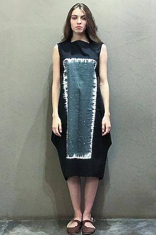 Black Tie-Dye Kurta Dress by I AM DESIGN
