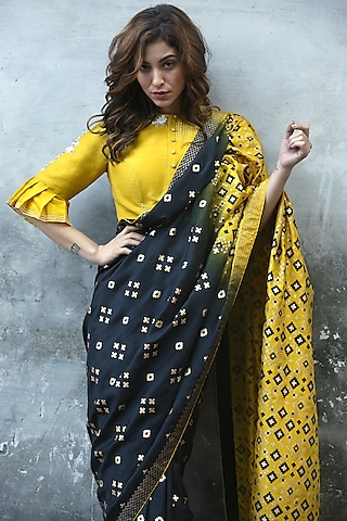 Mustard Floral Embroidered Blouse by I AM DESIGN