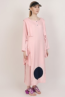 Pink Double Layered Kurta With Pants by I AM TROUBLE BY KC
