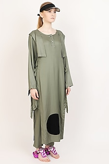 Military Green Layered Kurta With Pants by I AM TROUBLE BY KC