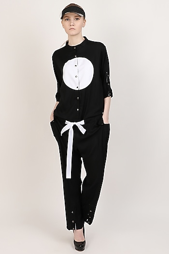 Black Jumpsuit With Patch Work by I AM TROUBLE BY KC