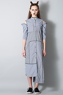 Blue Gingham Shirt Dress by I AM TROUBLE BY KC