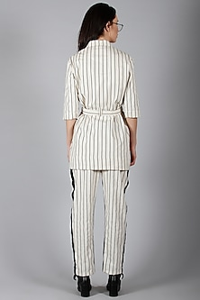 Off White Striped Jacket With Pants by I AM TROUBLE BY KC