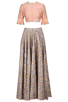 Grey Ikat Print Skirt and Peach Floral Embroidered Crop Top Set by I AM DESIGN