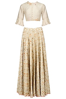 Ivory Ikat Print Skirt and Floral Embroidered Crop Top Set by I AM DESIGN