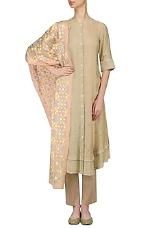 Golden Beige Kurta and Pants with Peach Ikat Print Dupatta by I AM DESIGN