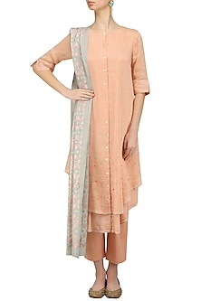 Peach Kurta and Pants with Mint Ikat Print Dupatta by I AM DESIGN