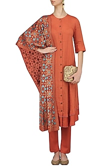 Rust Kurta and Pants with Ikat Print Dupatta by I AM DESIGN