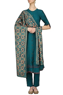 Teal Kurta and Pants with Ikat Print Dupatta by I AM DESIGN