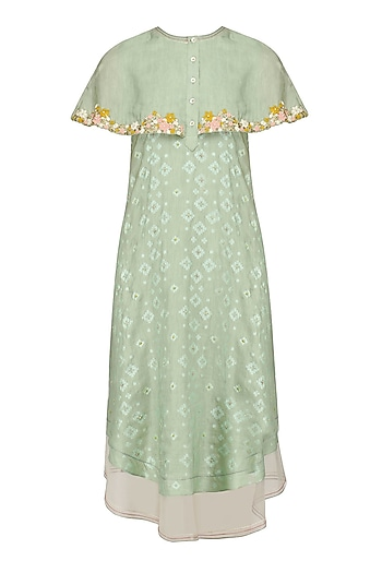 Mint Floral Layered Cape Style Dress by I AM DESIGN