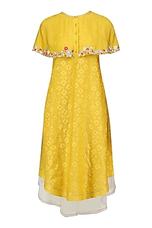 Mustard Yellow Floral Layered Cape Style Dress by I AM DESIGN