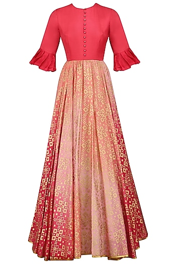 Peach Pink Ikat Print Ombre Shaded Gown by I AM DESIGN
