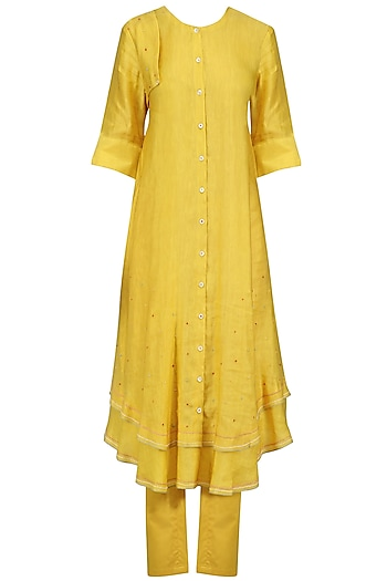 Mustard Hand Embroidered Layered Kurta and Pants Set by I AM DESIGN
