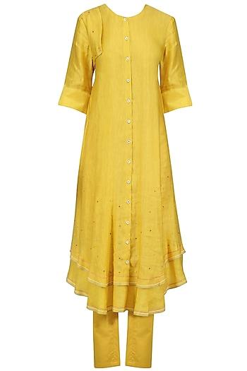 Mustard Hand Embroidered Layered Kurta and Pants Set by I AM DESIGN