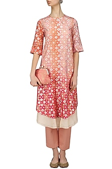 Peach Pink Shaded Ikat Print Kurta and Pants Set by I AM DESIGN