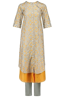 Mint Ikat Printed Layered Kurta and Pants Set by I AM DESIGN