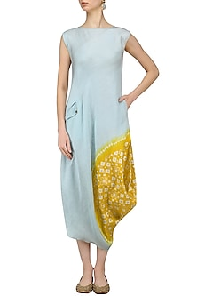 Blue And Mustard Yellow Tye And Dye Dress by I AM DESIGN