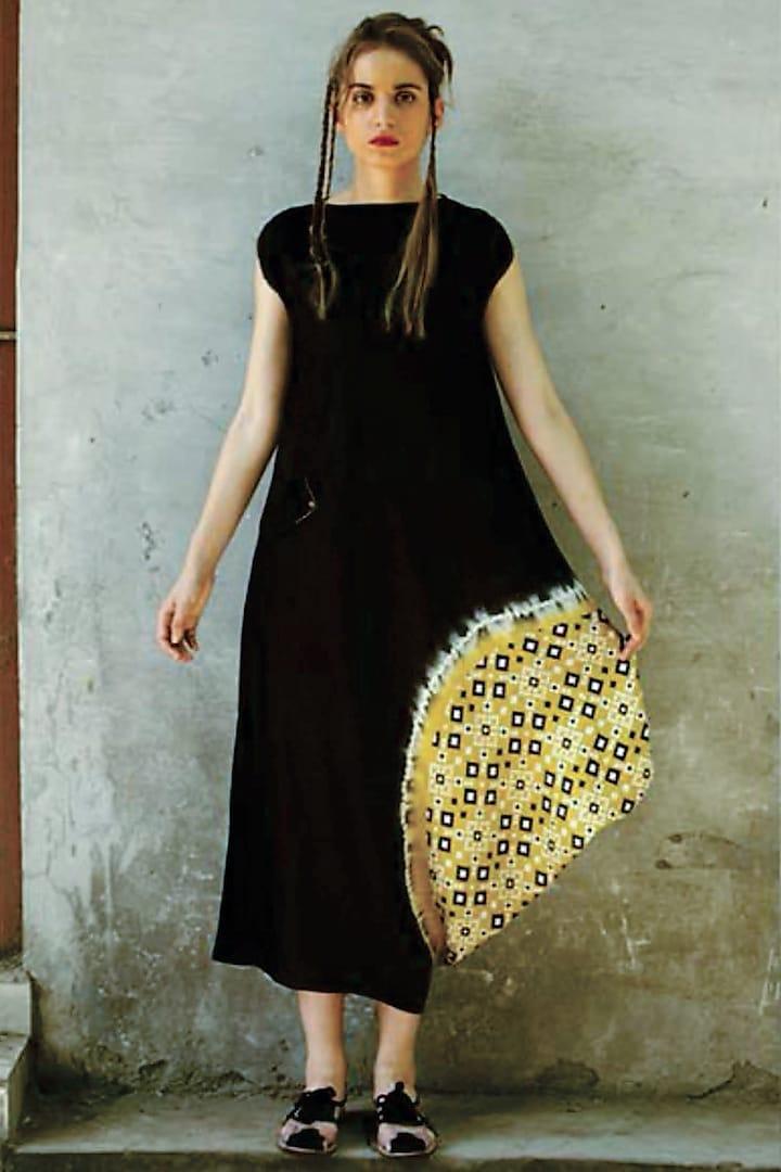 Black & Mustard Printed Cowl Kurta Dress by I AM DESIGN