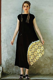 Black & Mustard Printed Cowl Kurta Dress by I AM DESIGN