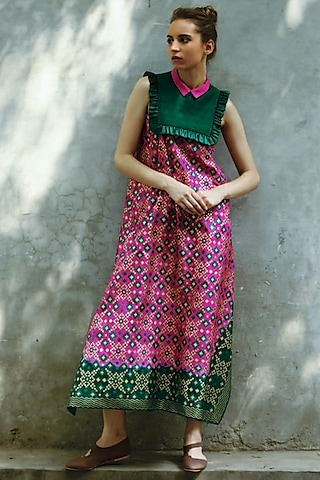 Green & Hot Pink Printed Kurta Dress by I AM DESIGN