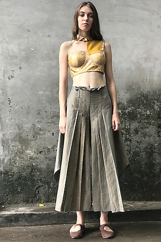 Grey Embroidered Pleated Palazzo Pants by I AM DESIGN