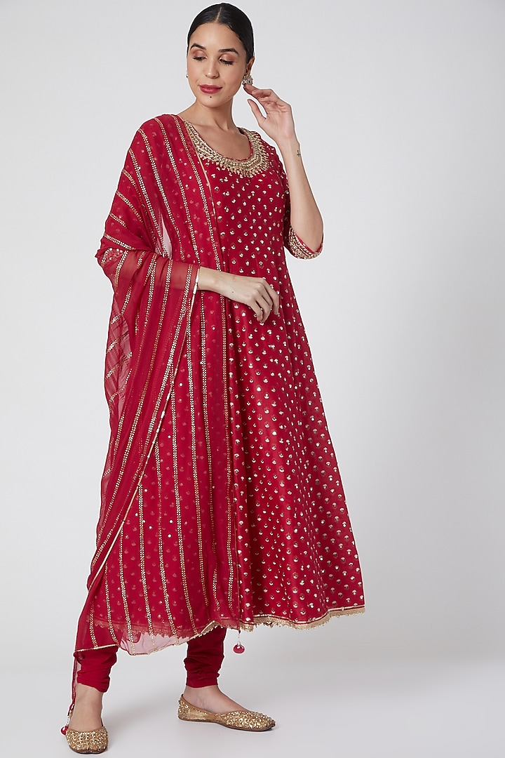Red Embroidered Anarkali Set by Ivory by dipika