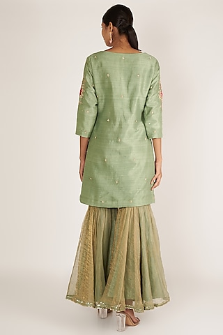 Mint Embroidered Gharara Set by Ivory by dipika