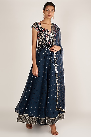 Indigo Blue Embroidered Anarkali Set by Ivory by dipika