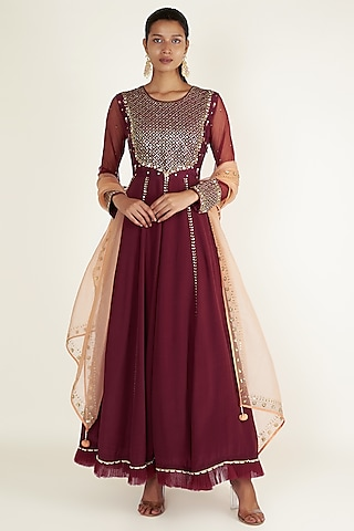 Plum Embroidered Anarkali Set by Ivory by dipika