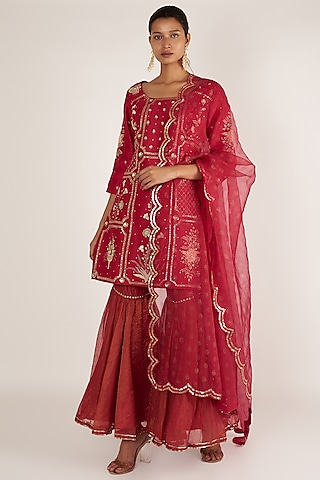 Cherry Embroidered Gharara Set by Ivory by dipika