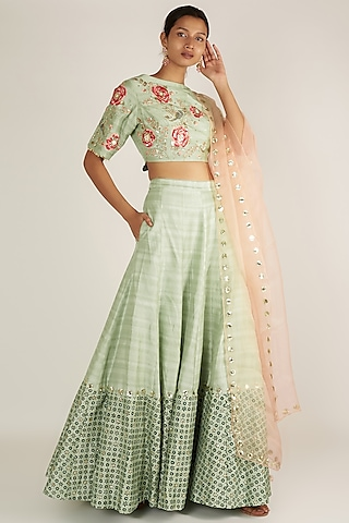 Aqua Blue Embroidered Lehenga Set by Ivory by dipika