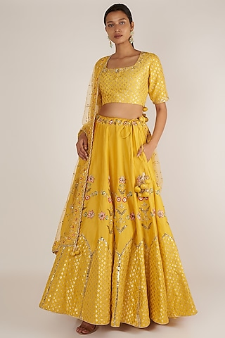 Mustard Embroidered Lehenga Set by Ivory by dipika