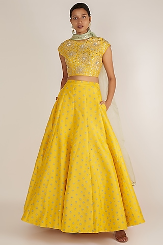 Mustard Sequins Embroidered Lehenga Set by Ivory by dipika