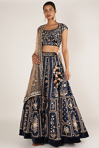 Indigo Blue Embroidered Lehenga Set by Ivory by dipika