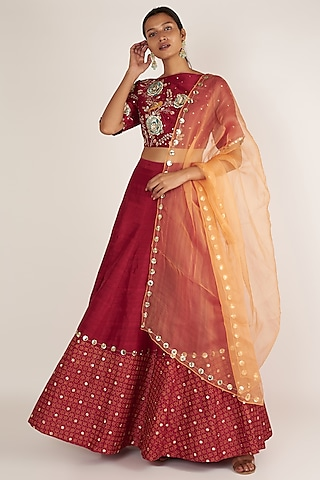 Cherry Embroidered Lehenga Set by Ivory by dipika