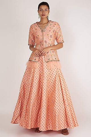 Pink Embroidered Skirt Set by Ivory by dipika
