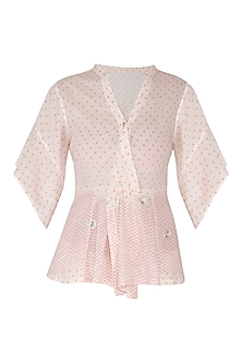 Ivory & Blush Pink Embroidered Block Printed Top by IHA