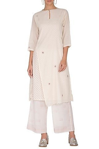 Ivory Embroidered & Block Printed Tunic by IHA