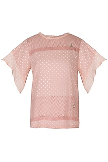 Blush Pink Embroidered & Block Printed Top by IHA