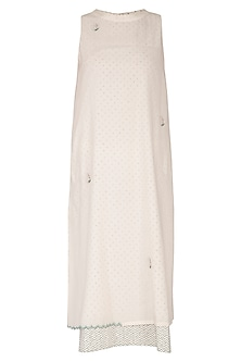 Ivory Embroidered & Block Printed Layered Dress by IHA
