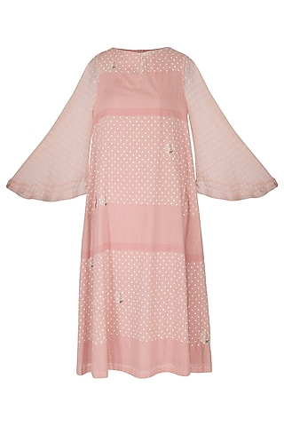 Blush Pink Embroidered & Block Printed Dress by IHA
