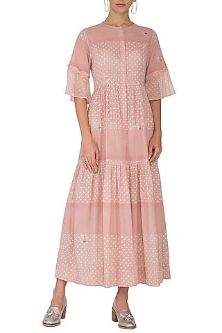 Blush Pink Embroidered & Block Printed Midi Dress by IHA