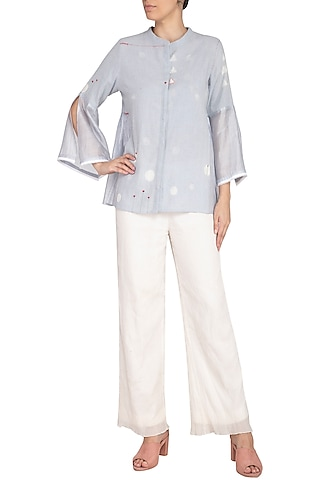Powder Blue Embroidered Kedia Top by IHA