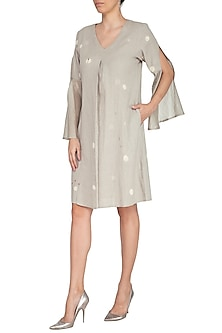 Dusty Grey Embroidered Shift Dress by IHA