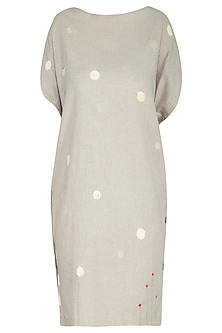 Dusty Grey Embroidered Tunic Dress by IHA
