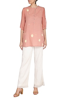 Dusty Pink Embroidered Flared Top by IHA