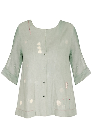 Teal Green Embroidered Top by IHA