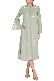 Teal Green Embroidered Midi Dress by IHA